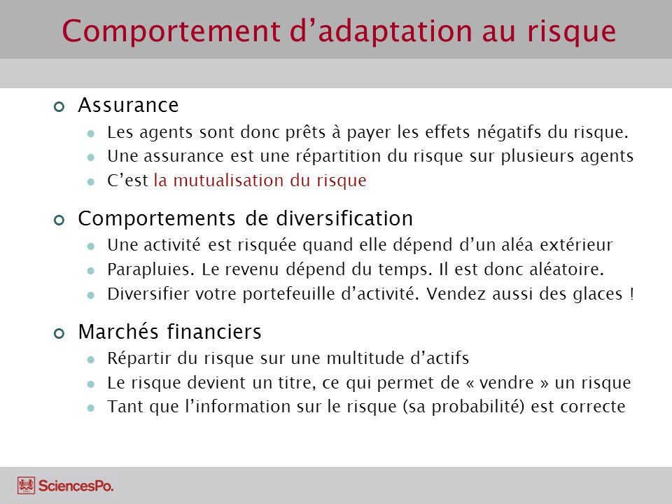 Comportement d'adaptation au risque