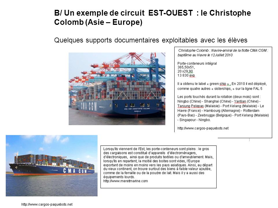 B/ Un exemple de circuit EST-OUEST : le Christophe Colomb (Asie – Europe)