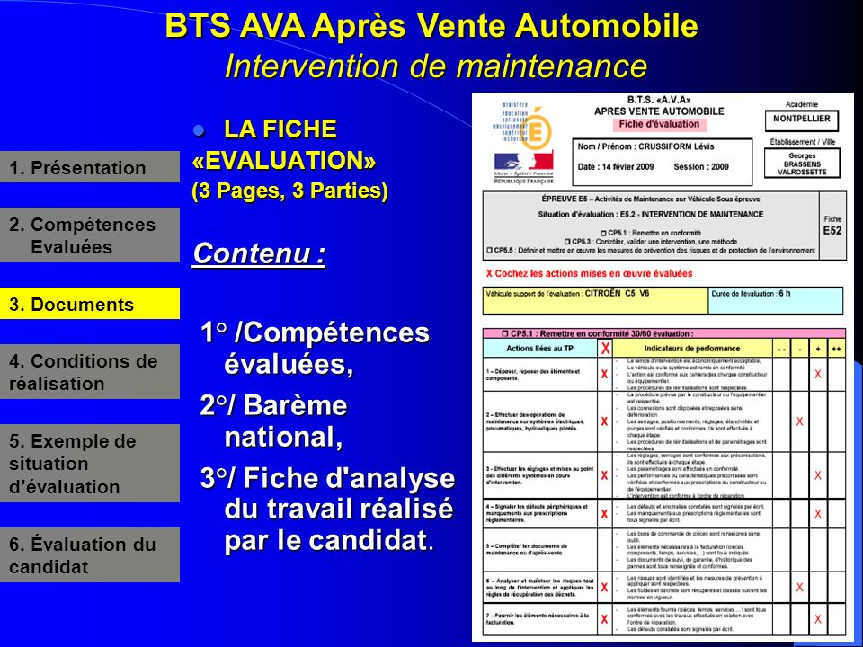 BTS AVA Après Vente Automobile Intervention de maintenance