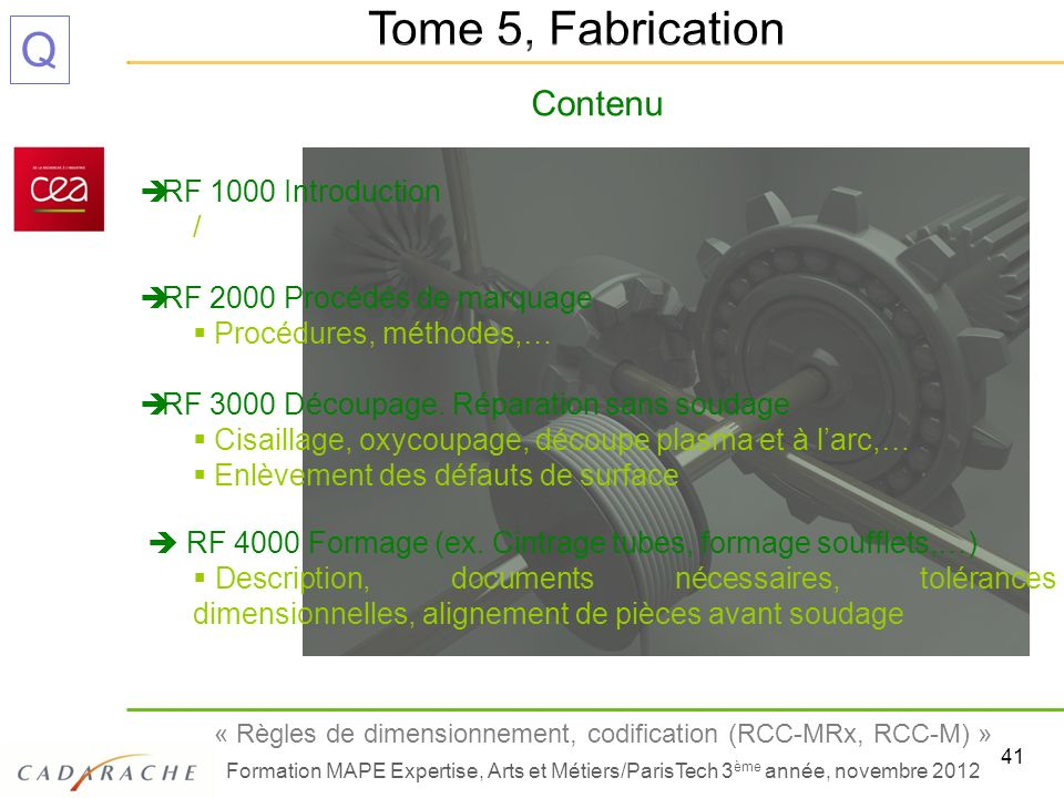 Tome 5, Fabrication Contenu RF 1000 Introduction /