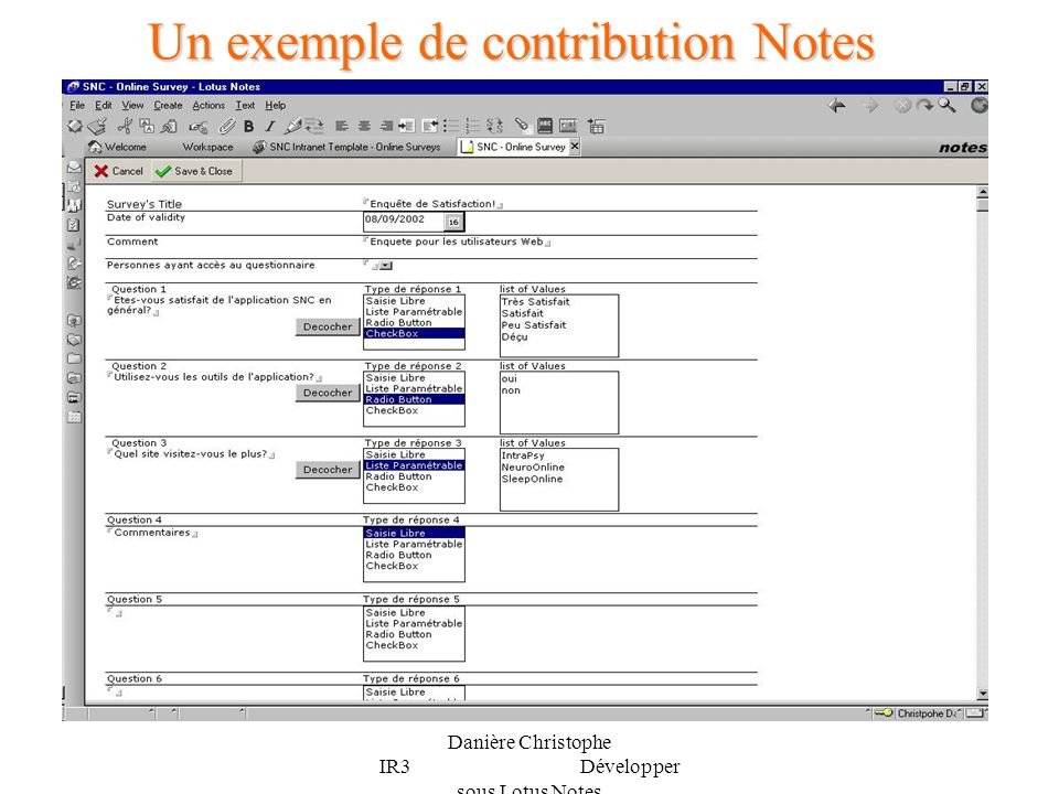 Un exemple de contribution Notes