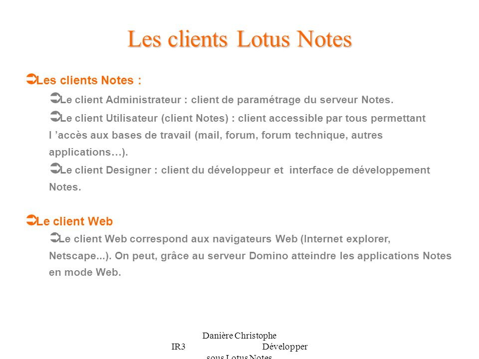Les clients Lotus Notes