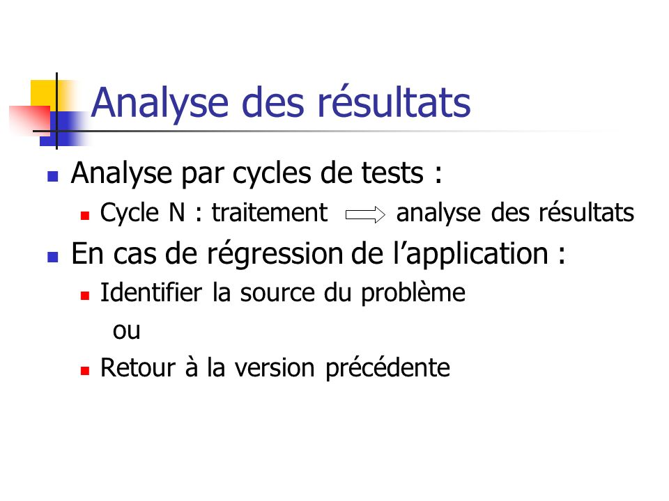Analyse des résultats Analyse par cycles de tests :