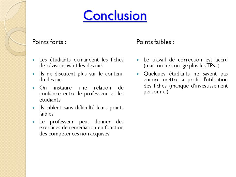 Conclusion Points forts : Points faibles :