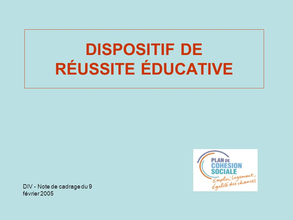 DISPOSITIF DE RÉUSSITE ÉDUCATIVE