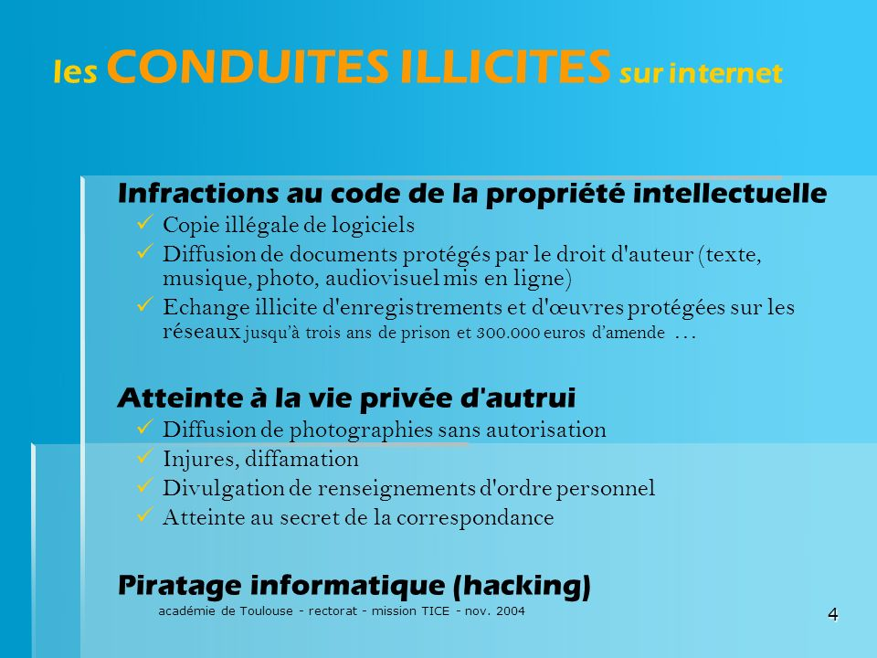 les CONDUITES ILLICITES sur internet