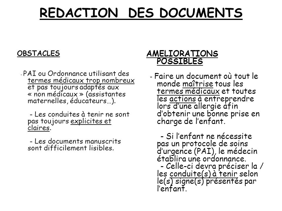 REDACTION DES DOCUMENTS