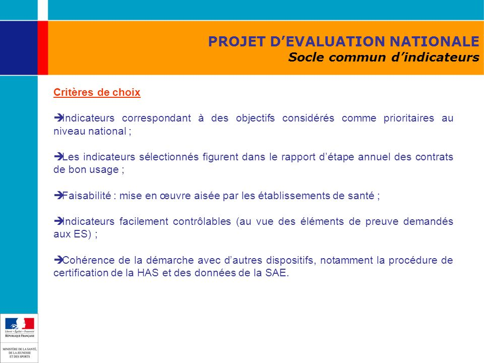 PROJET D'EVALUATION NATIONALE Socle commun d'indicateurs
