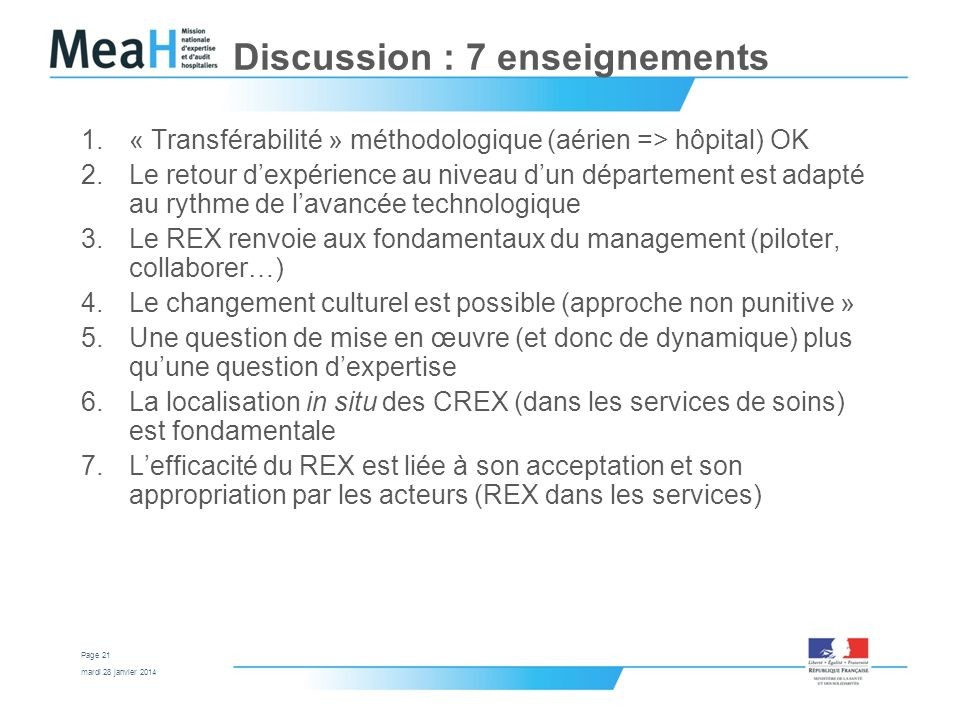 Discussion : 7 enseignements