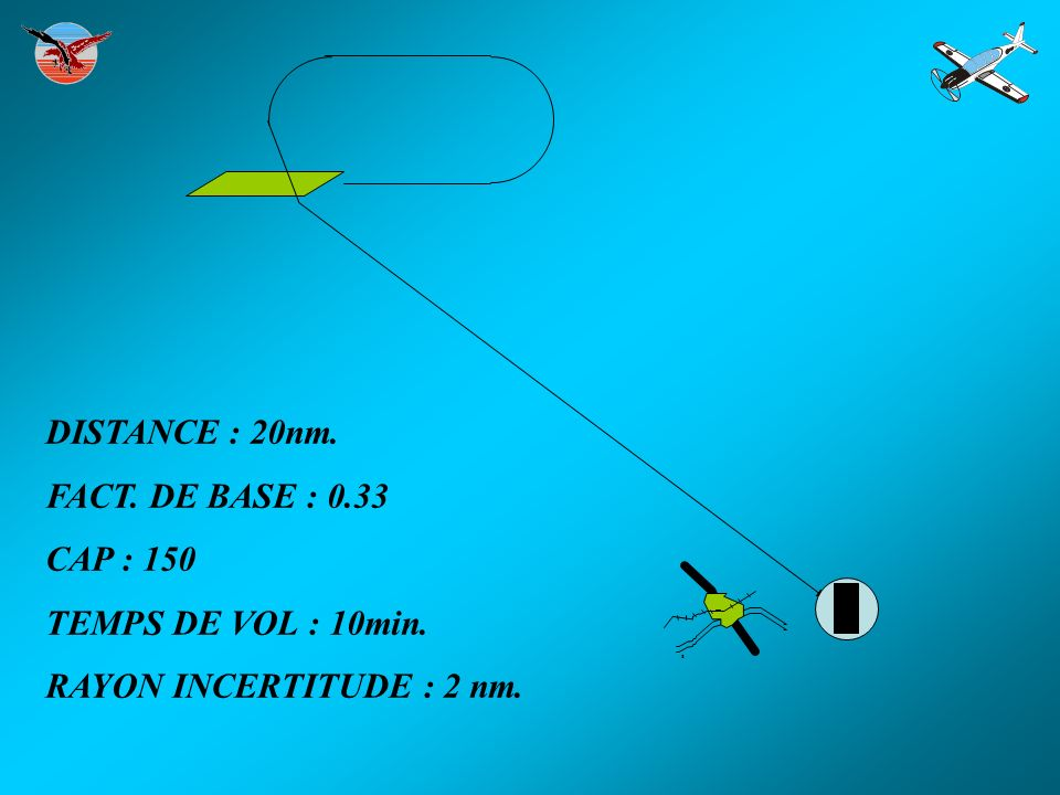 DISTANCE : 20nm. FACT. DE BASE : 0.33 CAP : 150 TEMPS DE VOL : 10min.