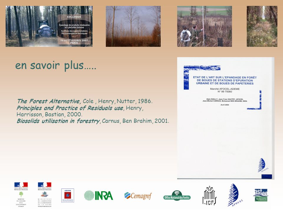 en savoir plus….. The Forest Alternative, Cole , Henry, Nutter, 1986.
