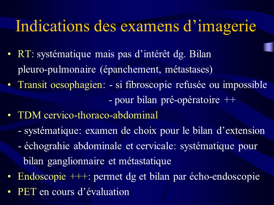 Indications des examens d'imagerie