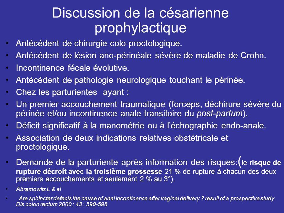 Discussion de la césarienne prophylactique