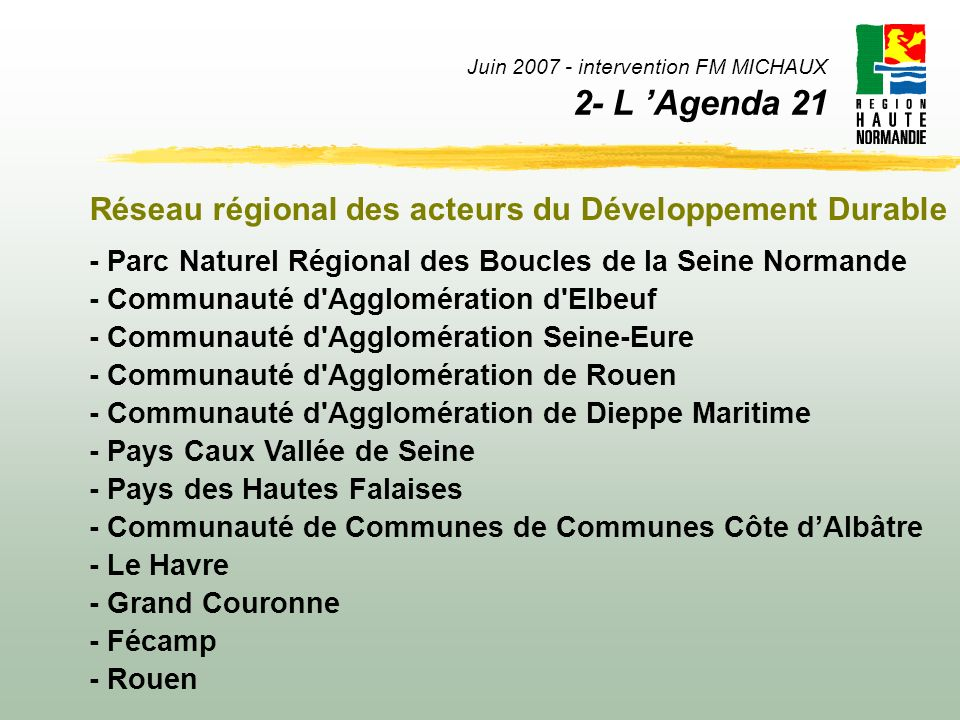 Juin intervention FM MICHAUX 2- L 'Agenda 21