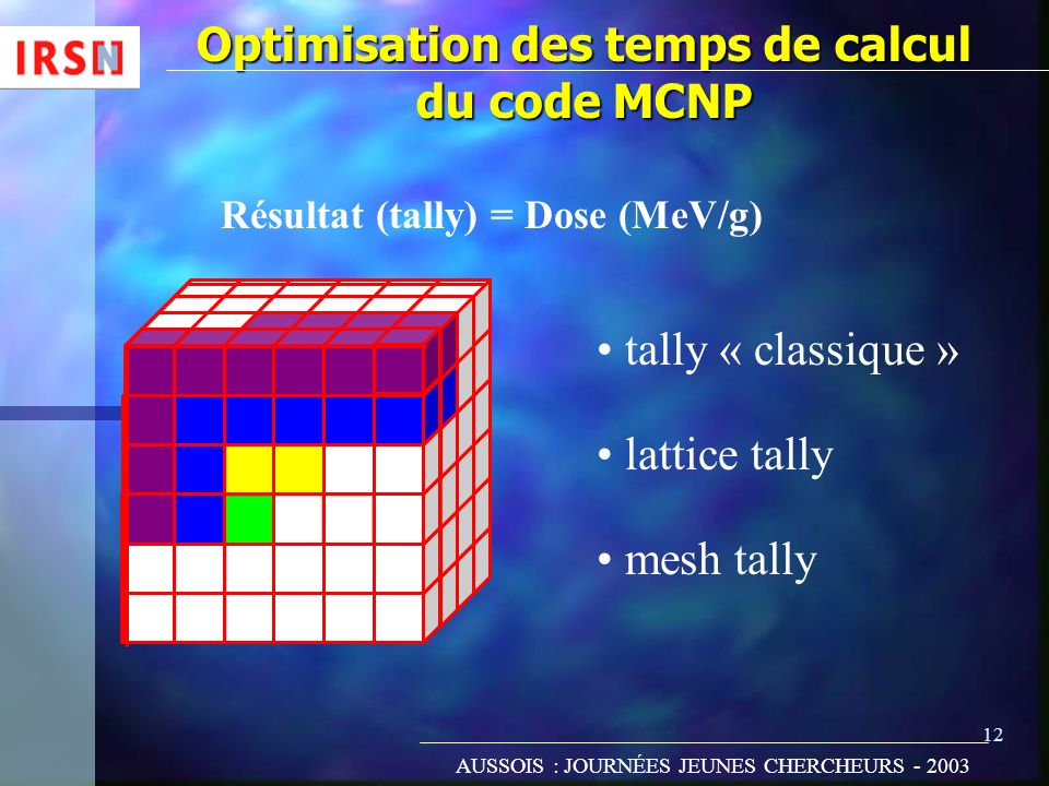 Optimisation des temps de calcul du code MCNP