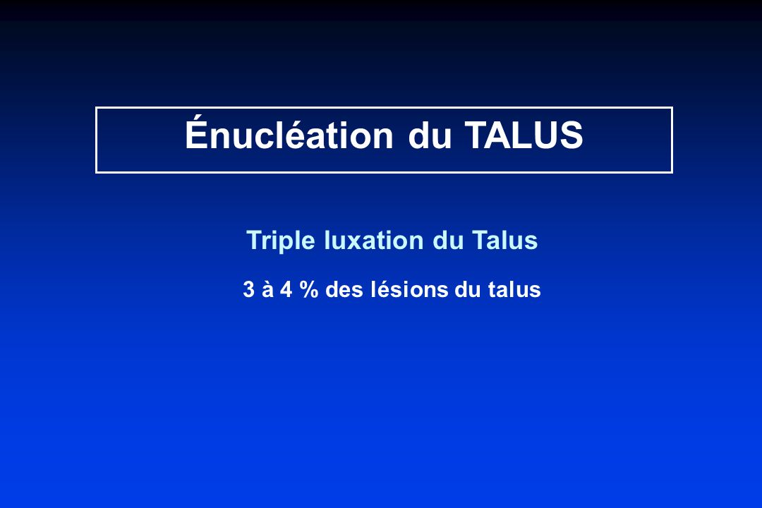 Triple luxation du Talus