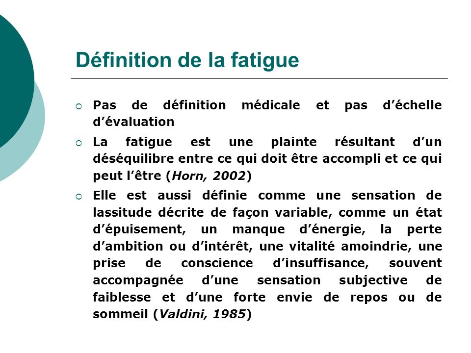 Définition de la fatigue