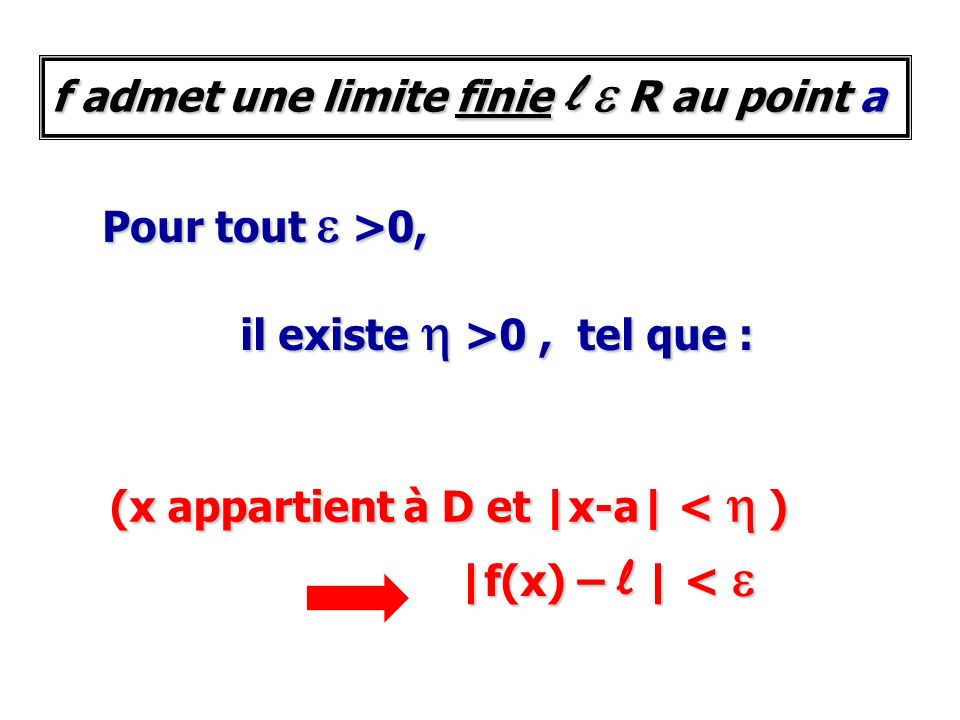 f admet une limite finie l e R au point a