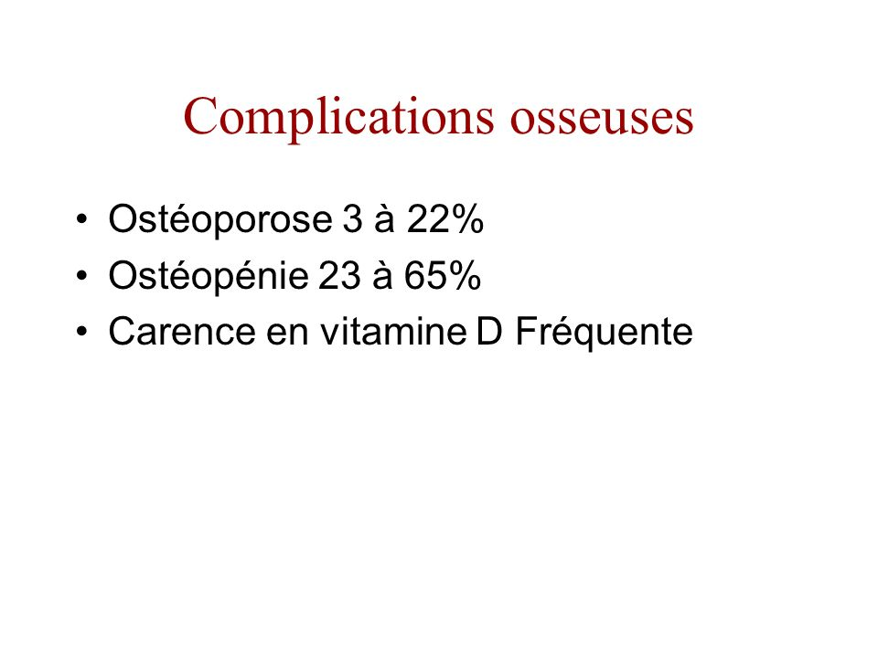 Complications osseuses