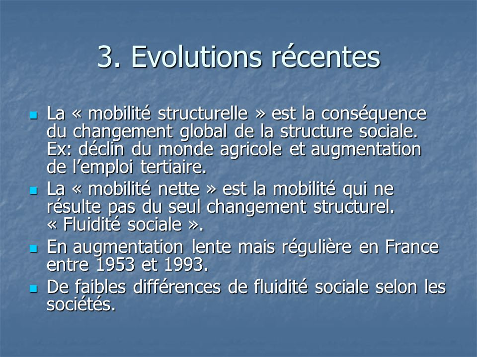 3. Evolutions récentes