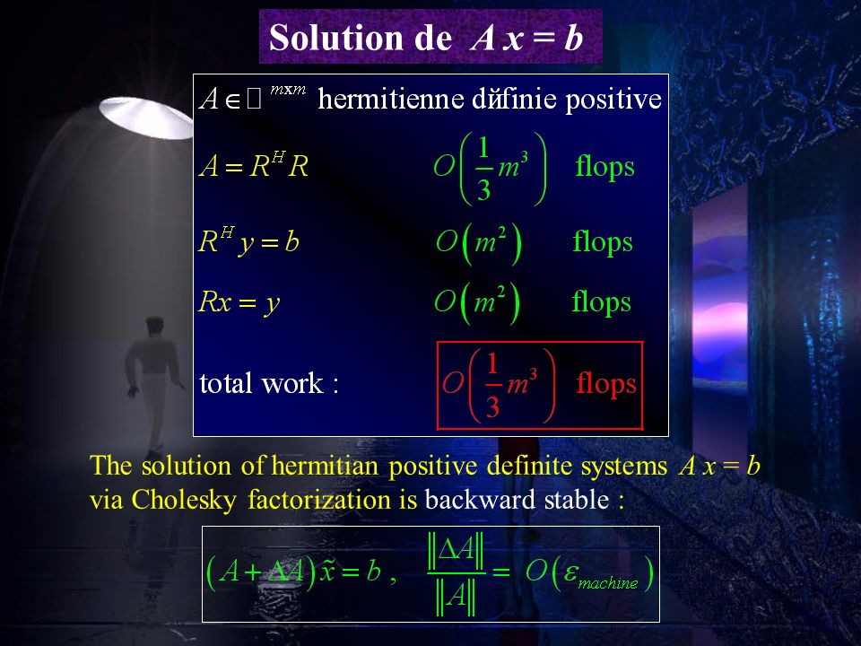 Solution de A x = b The solution of hermitian positive definite systems A x = b via Cholesky factorization is backward stable :