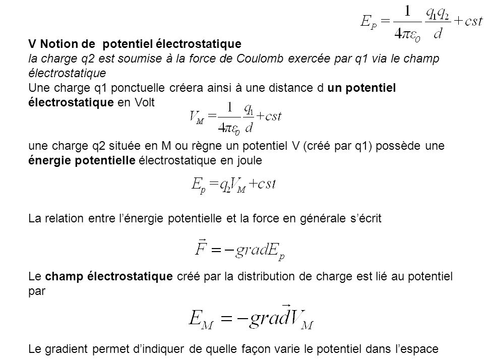 V Notion de potentiel électrostatique
