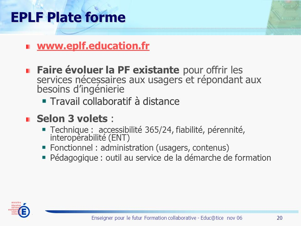 EPLF Plate forme