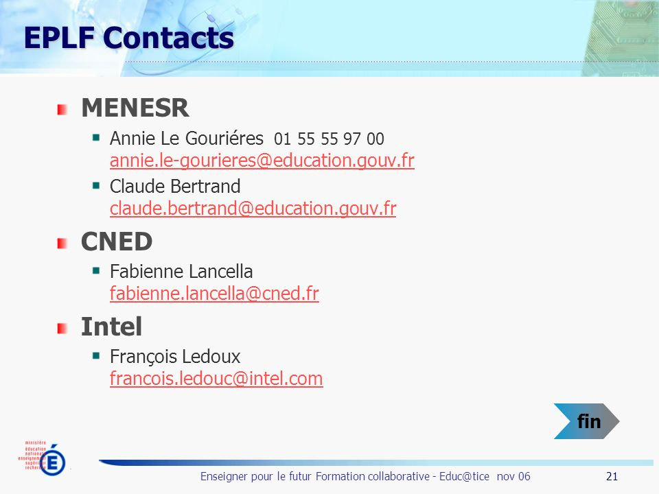 EPLF Contacts MENESR CNED Intel