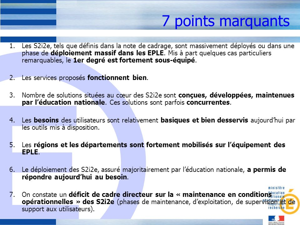7 points marquants