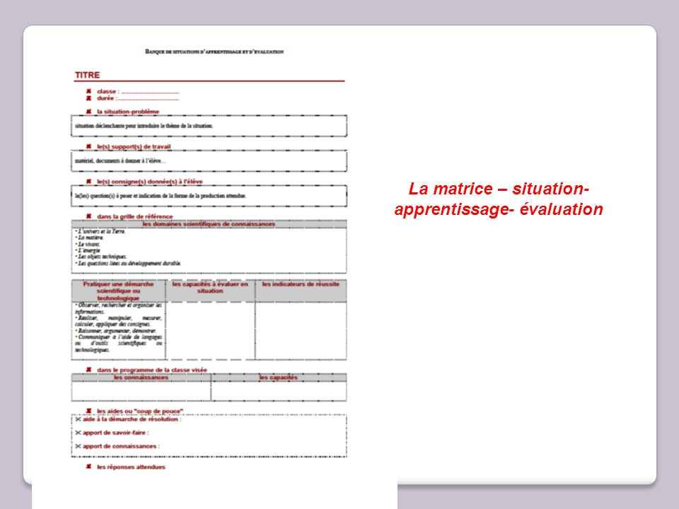 La matrice – situation- apprentissage- évaluation
