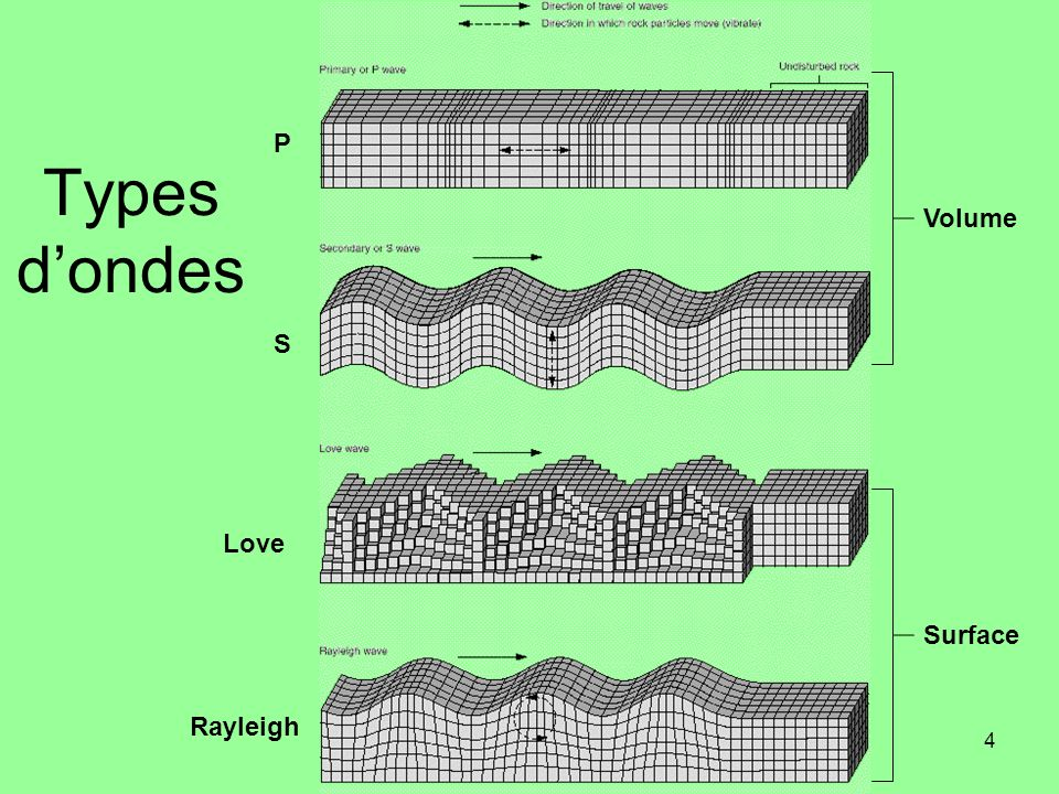 P Types d'ondes Volume S Love Surface Rayleigh