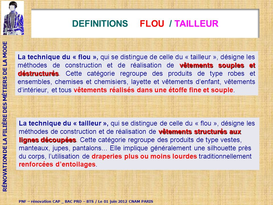 DEFINITIONS FLOU / TAILLEUR