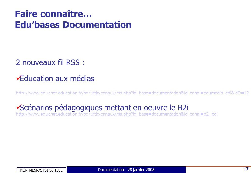 Faire connaître… Edu'bases Documentation