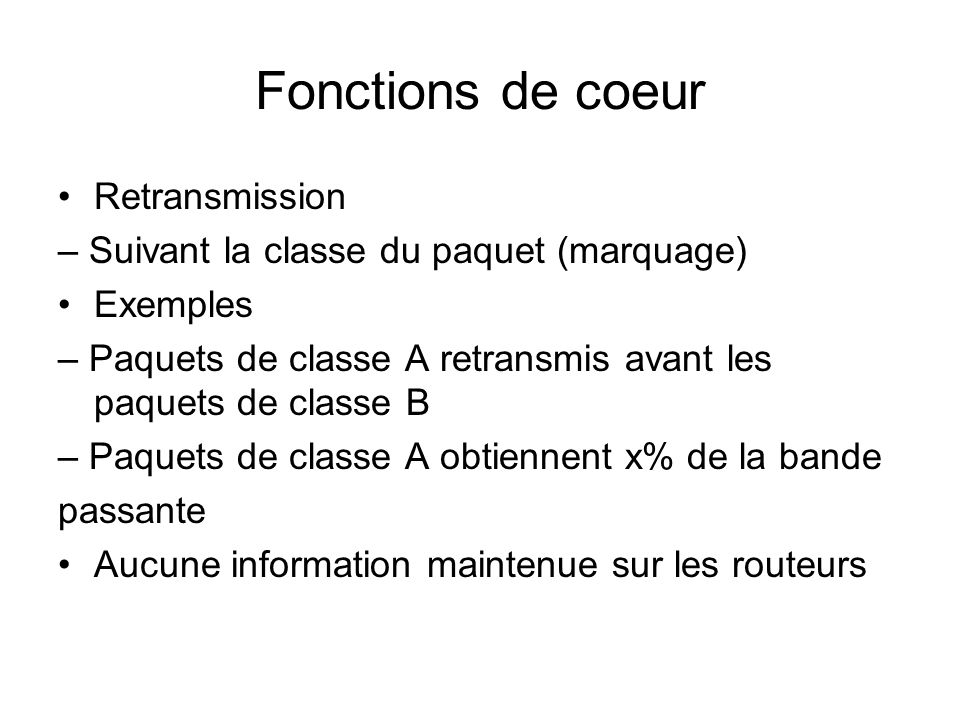 Fonctions de coeur Retransmission