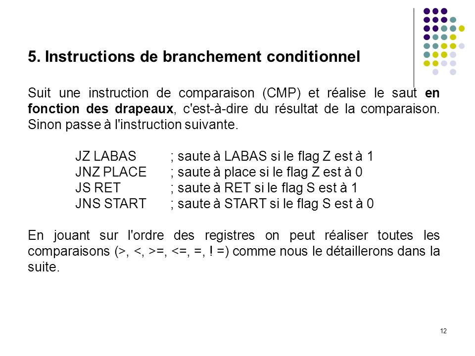 5. Instructions de branchement conditionnel