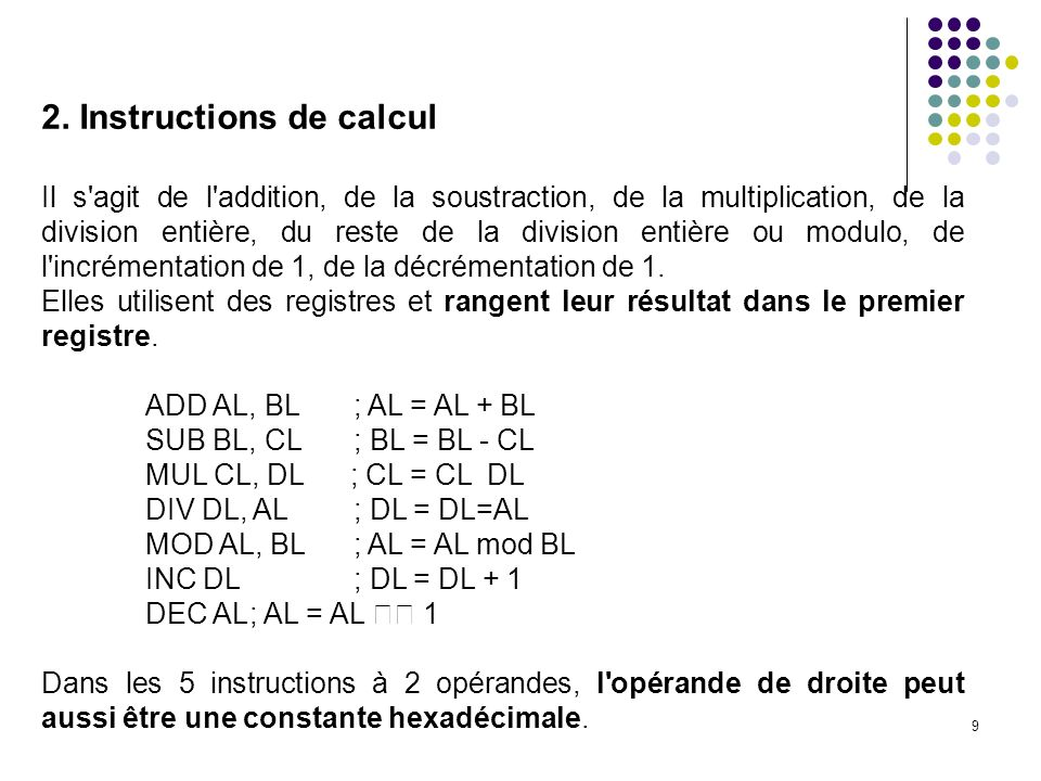 2. Instructions de calcul