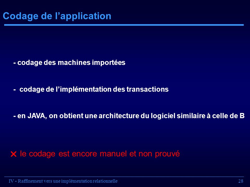 Codage de l'application