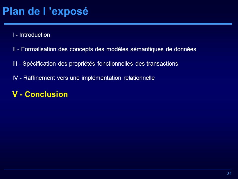 Plan de l 'exposé V - Conclusion I - Introduction