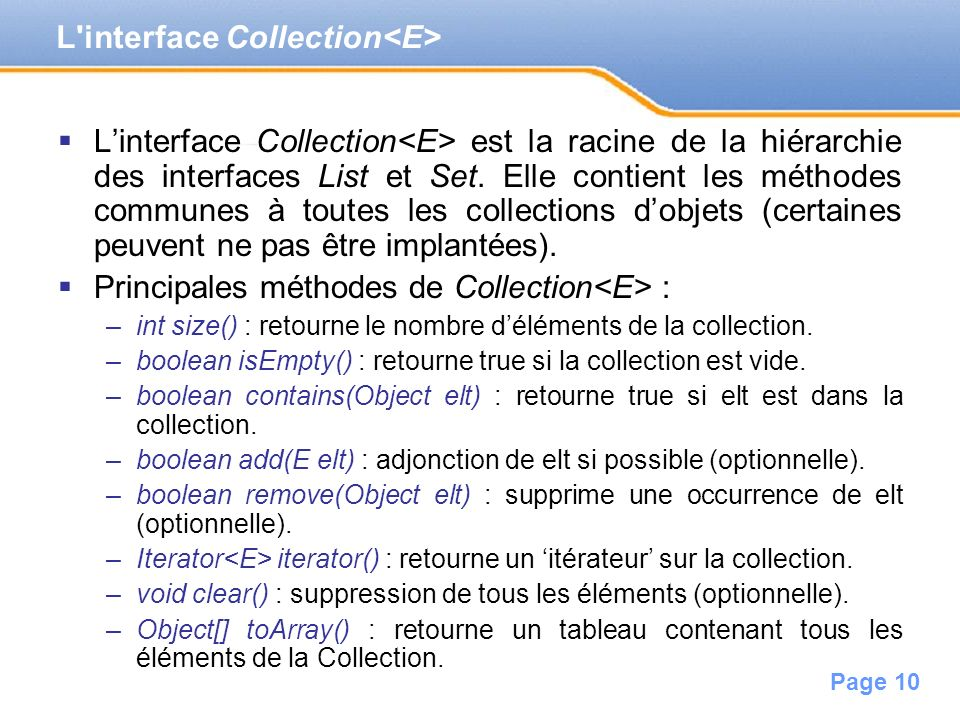 L interface Collection<E>