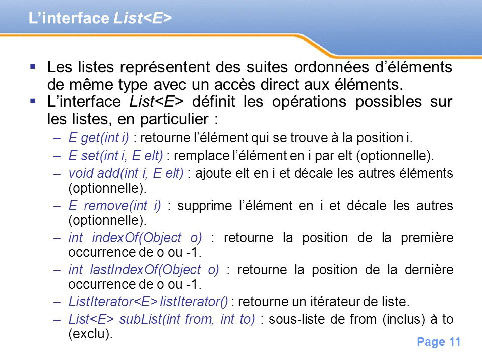 L'interface List<E>