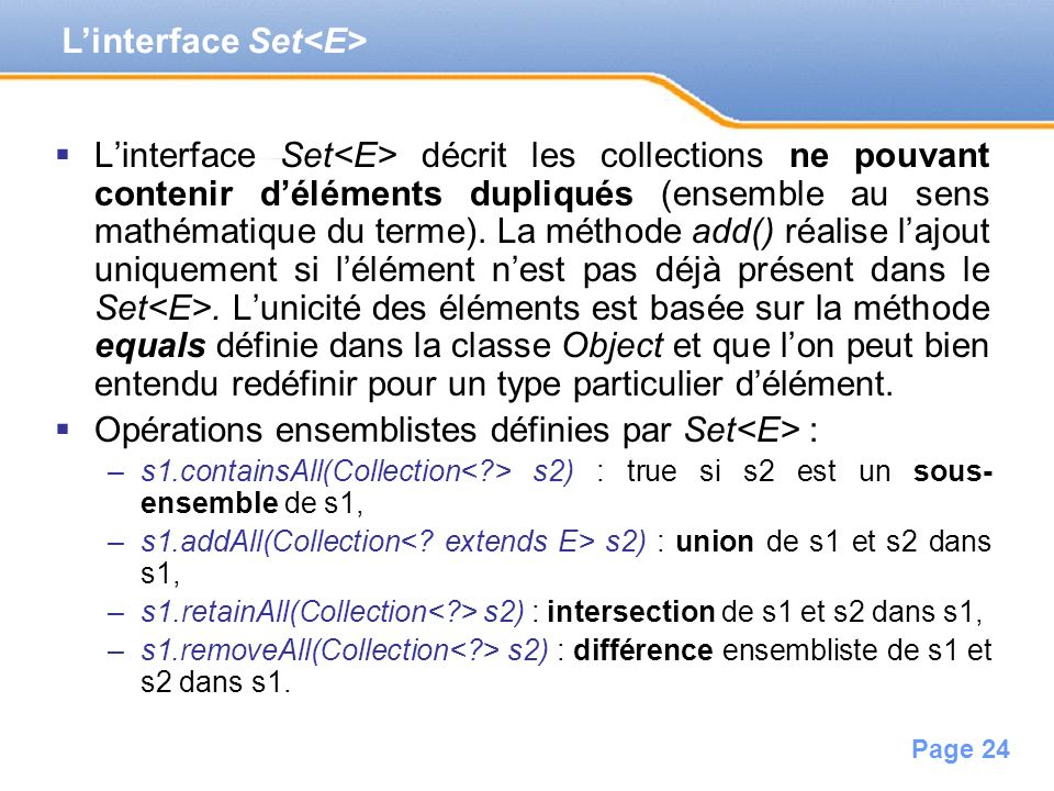 L'interface Set<E>