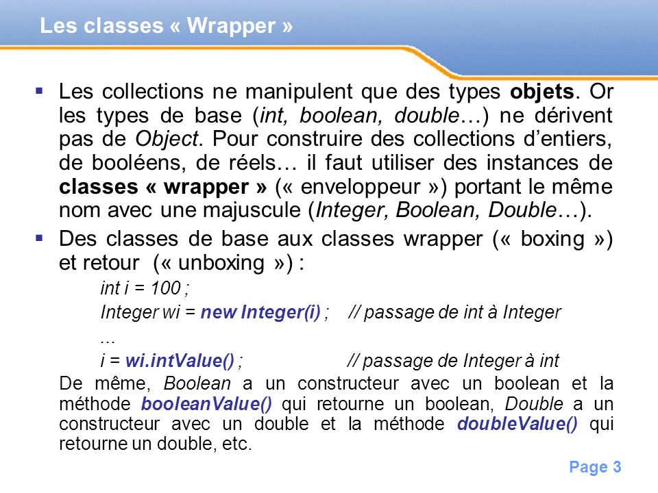 Les classes « Wrapper »