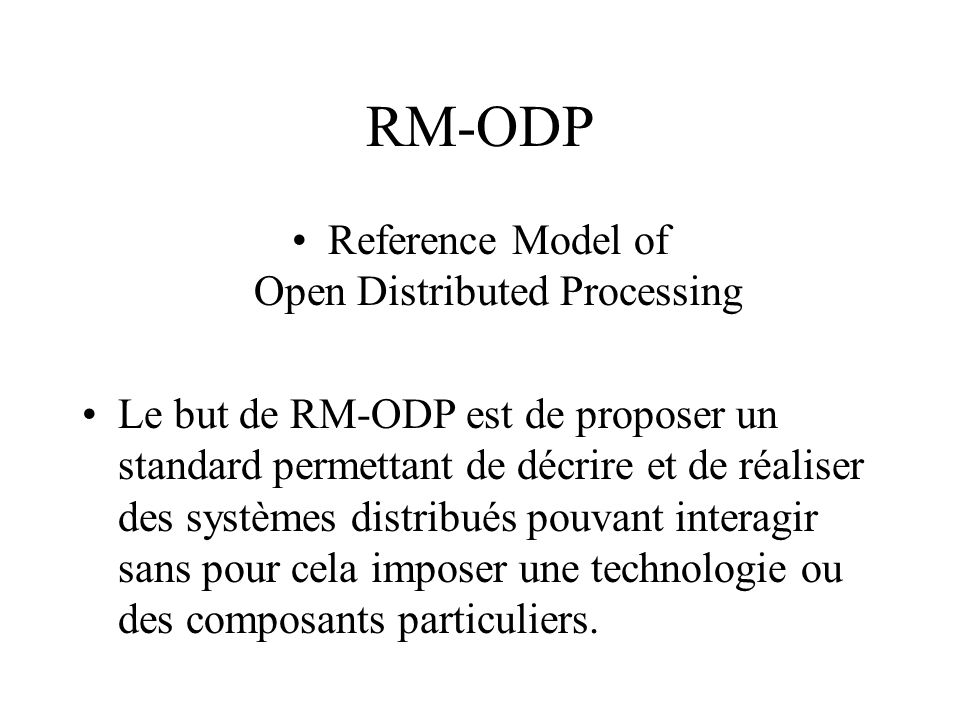 Reference Model of Open Distributed Processing