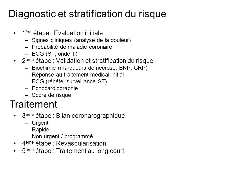 Diagnostic et stratification du risque