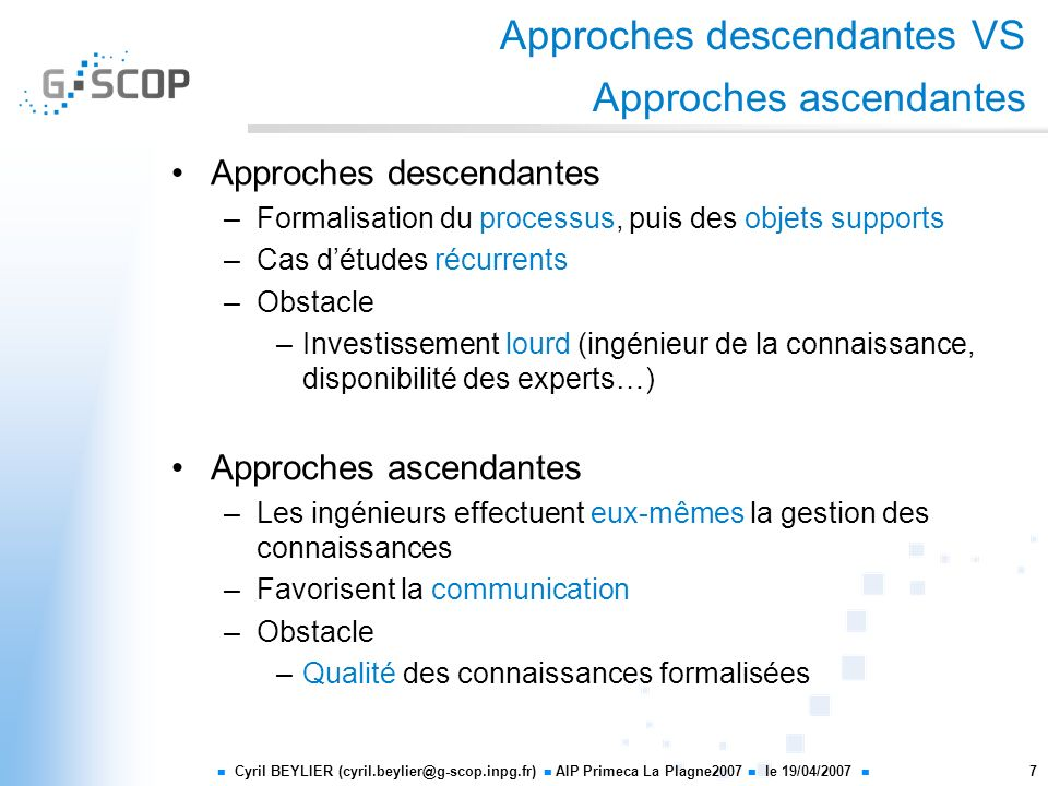 Approches descendantes VS Approches ascendantes