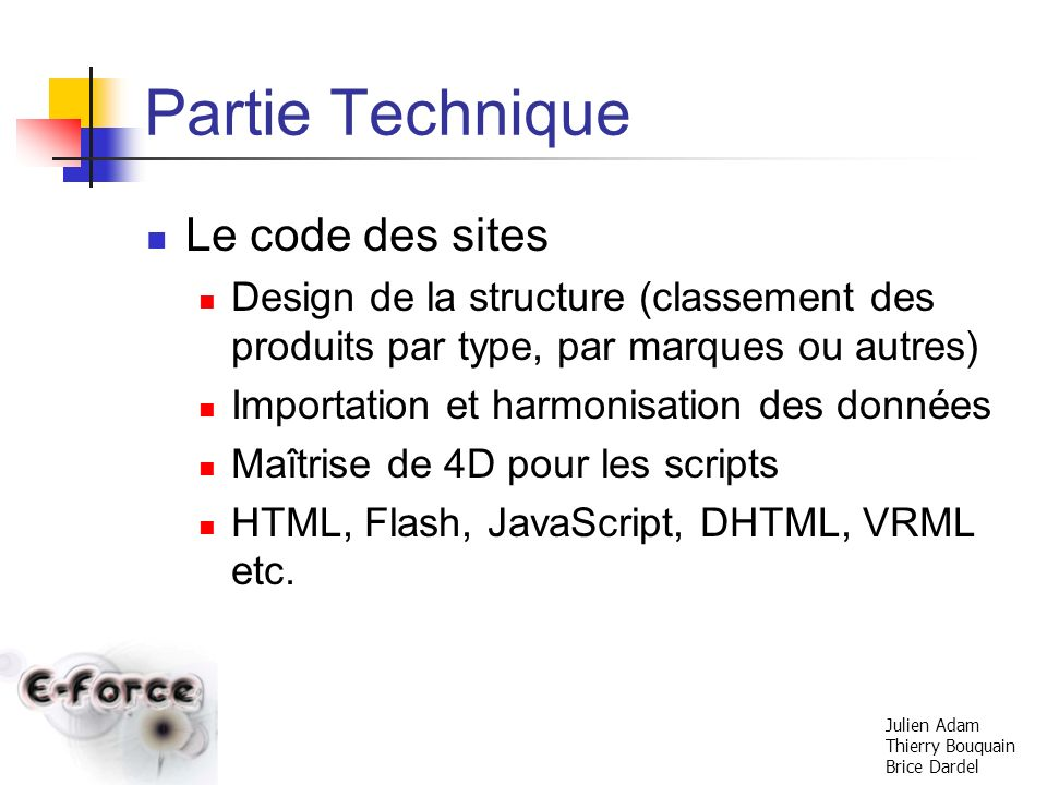 Partie Technique Le code des sites