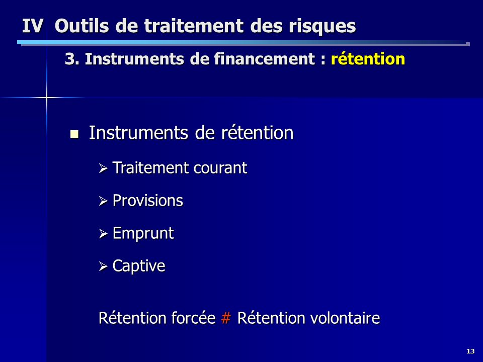 Instruments de rétention