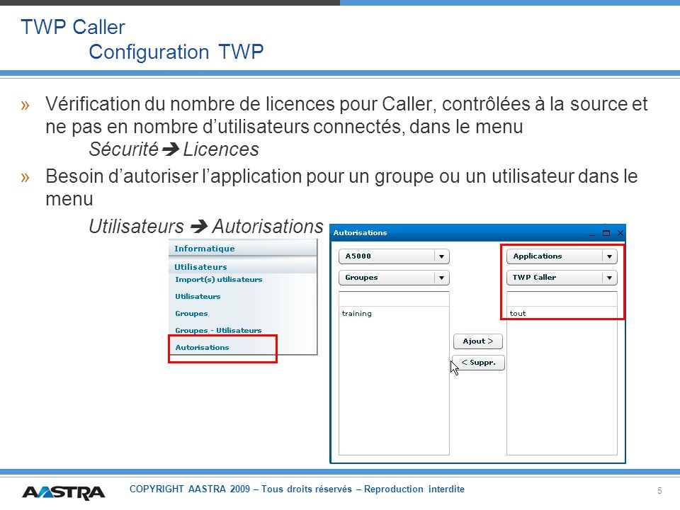 TWP Caller Configuration TWP