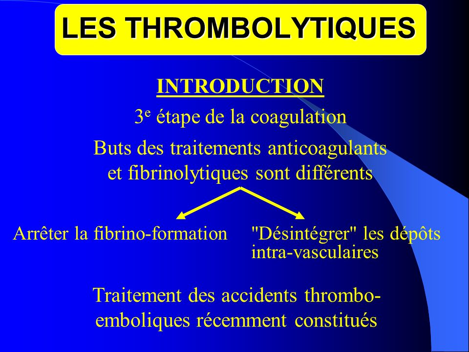 LES THROMBOLYTIQUES INTRODUCTION 3e étape de la coagulation