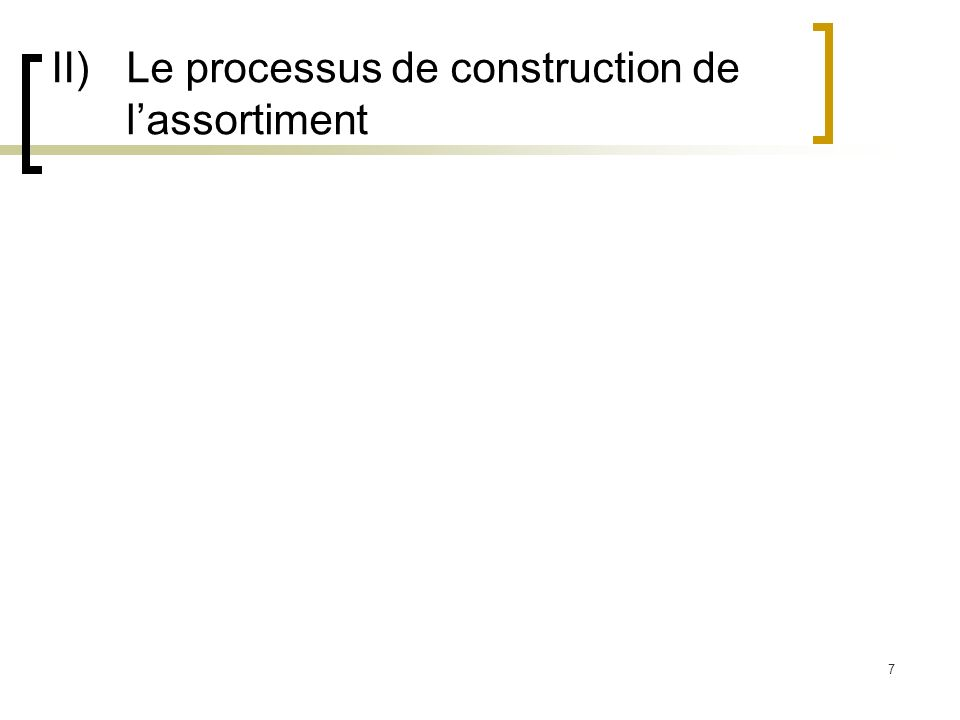 II) Le processus de construction de l'assortiment